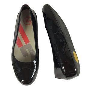 FitFlop SUPERBALLERINA Black Patent Ballet Flats